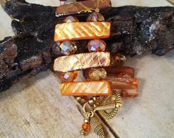 Ginger Tangerine Tropical Ladder Bracelet