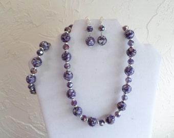 Purple/White Necklace, Elastic Bracelet, Lever Back Earrings