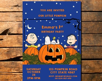 Great Pumpkin Birthday Invitation, Charlie Brown Great Pumpkin Invitation, Charlie Brown Birthday Invitation, Peanuts Invitation