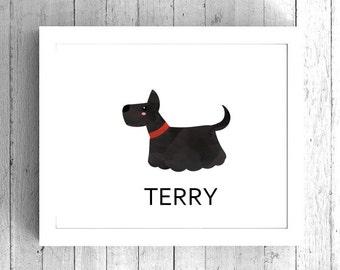 Custom Terrier Art Print - Dog Artwork, Terrier Wall Art, Printable Terrier Art, Custom Dog Name Art, Dog Gift, Pet Lover Gift