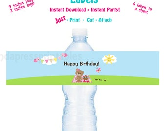 Printable Water Bottle Label PrintableTeddy Bear Picnic Birthday Party Water Bottle Label
