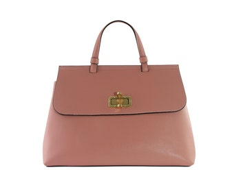 Large pink saffiano leather bag with shoulder strap