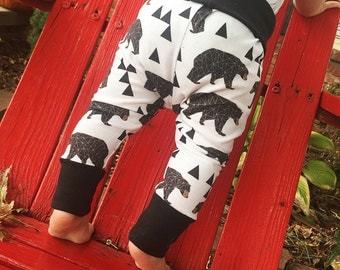 geo bear leggings | baby leggings | jogger pants | infant leggings | newborn leggings | toddler leggings | kid leggings | unisex