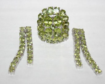 Together ring + earrings set with real Peridots in Silver 925
