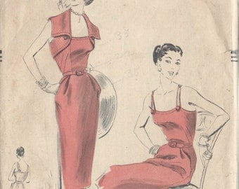 "1952 Vintage VOGUE Sewing Pattern B32"" DRESS & BOLERO (R655)  Vogue 7400"