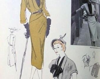 1950s Vintage VOGUE Sewing Pattern B34 SUIT - JACKET Skirt Blouse (1113) Jacques Fath Vogue 1113