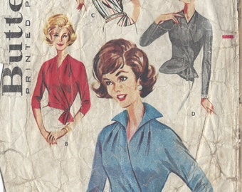 "1950s Vintage Sewing Pattern B36"" WRAP-AROUND BLOUSE (R703) Butterick 2149"