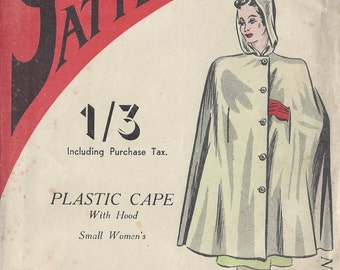 1940s Vintage Sewing Pattern CAPE SMALL (R620) Practical 9151