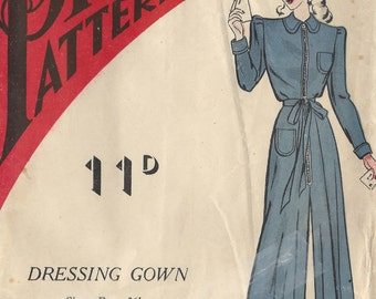 """1940s WW2 Vintage Sewing Pattern 36"""" DRESSING GOWN (1329) Practical Pattern 6422"""