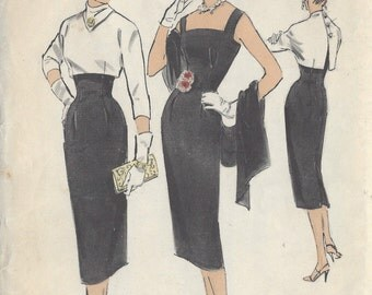 "1950s Vintage Sewing Pattern B32"" DRESS & BOLERO (R376) By 'Edith Head'  Advance 8048"