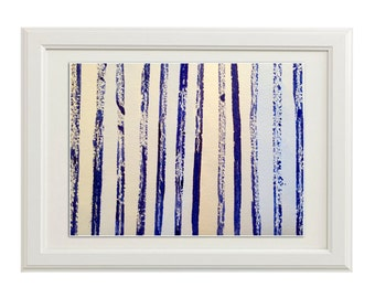 Giclée Print, Abstract Ink Blue Forrest Painting