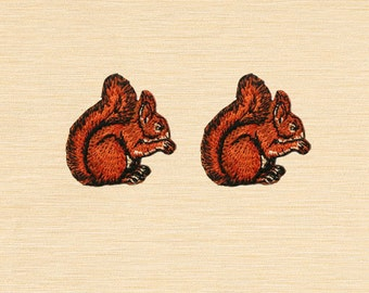 Set of 2 pcs Mini Squirrel Eating Nut Forest Animal Iron On Patches Sew On Appliques