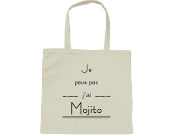 Tote bag bag I can't I Mojito - white cotton
