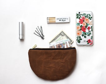 Waxed Canvas Pouch.Half-Moon Clutch.Zipper Pouch.Eco Friendly Coin Purse.Small Wallet.Organic Canvas Bag.Brown Zippered Pouch.Gifts For Her