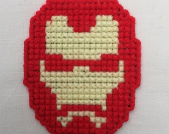 Plastic canvas cross stitched 'Iron Man' magnet.