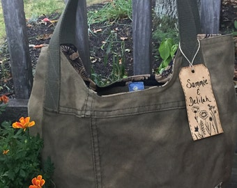 Reconstructed Canvas Hobo Bag