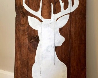 Buck Silhouette Wood Sign