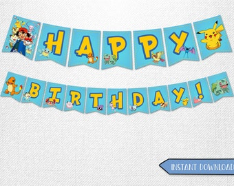 Pokemon banners, Pokemon Happy Birthday banners, Pokemon decorations, Pokemon party supplies!