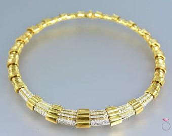 Magnificent Vintage Diamond 18k Yellow Gold Collar Necklace, 5.00 ctw. G, VS