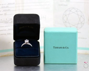 Tiffany and Co. 1.02 ct. F, VS2 Round Diamond Solitaire Platinum Ring, Size 4.50