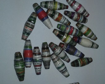20 water resistant Coated Paper beads made from seed catalog pages