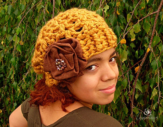 The Chloe Slouch, Gold Crochet Slouch Hat, Autumn Color Hat, Girl's hat, beaded flower brooch,fashion slouch, hat with flower, linen flower