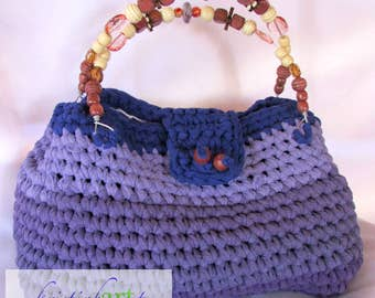 Purple Recycled T-shirt Handbag / Handmade Crochet / Cotton / Women's Gift Idea / Purple / Acrylic / Glass / Wood / Beads / Wire