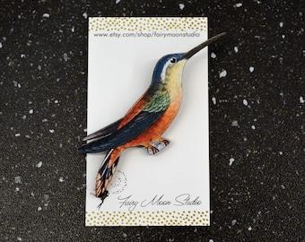 Humming Bird ~ Wood Laser Cut - Altered Art Pin / Brooch Vintage Graphic