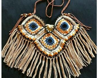 Crochet bag,square crochet bag ethnic,Crochet hand mad bag with fringe tassels,crochet bag hippie ,granny square crochet bag.