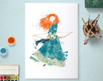 Merida, Disney Princess, Brave Poster, Watercolour Art, Printable Instant Download