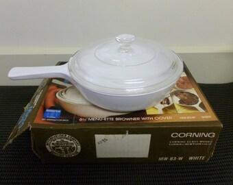 Vintage Corning Ware Micro-Wave 6 1/2' Menu-ette Browner with Cover White Saucepan/Pan/Browner #M-83-W