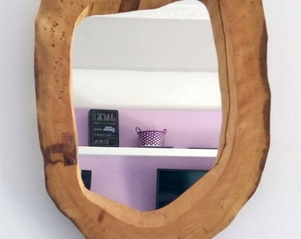 Solid walnut tree slice mirror frame