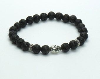 Lava Lava Skull Charm bracelet natural semi-precious Bangle bracelet with Skull, semiprecious stone man woman gift idea