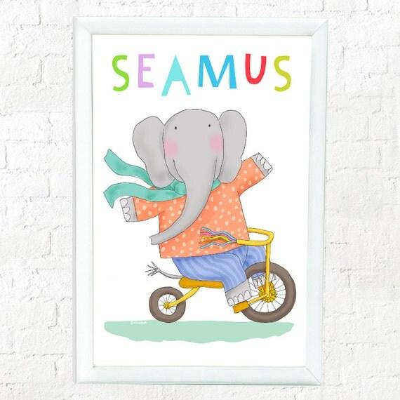 Personalized whimsical elephant print for child, elephant on bike, custom art for kid's, baby shower gift, kid's decor, cute elephant print