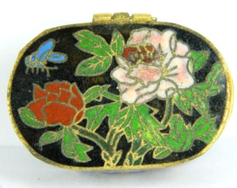 Vintage Small Black Cloisonne Enamel Copper Brass Jewelry Trinket Box Case,Multicolor Floral Pattern,Chinese Traditional Handicraft