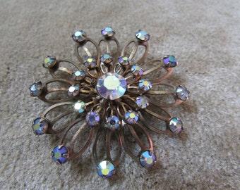 Laurie AB Rhinestone Sunburst Flower Brooch