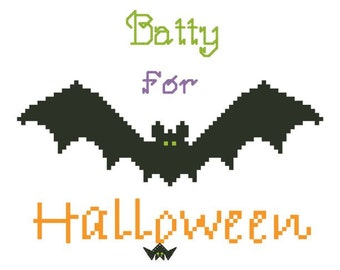 BATTY for Halloween Counted Cross Stitch Pattern / Chart and BOO CREW Counted Cross Stitch Pattern / Chart - Bats and Ghosts