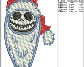 Jack Skellington Nightmare Christmas Embroidery Design Fill Stitch 3 sizes instant download