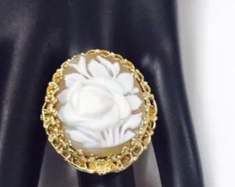 Rose shell Cameo,14k gold,handcrafted statement ring.size 6