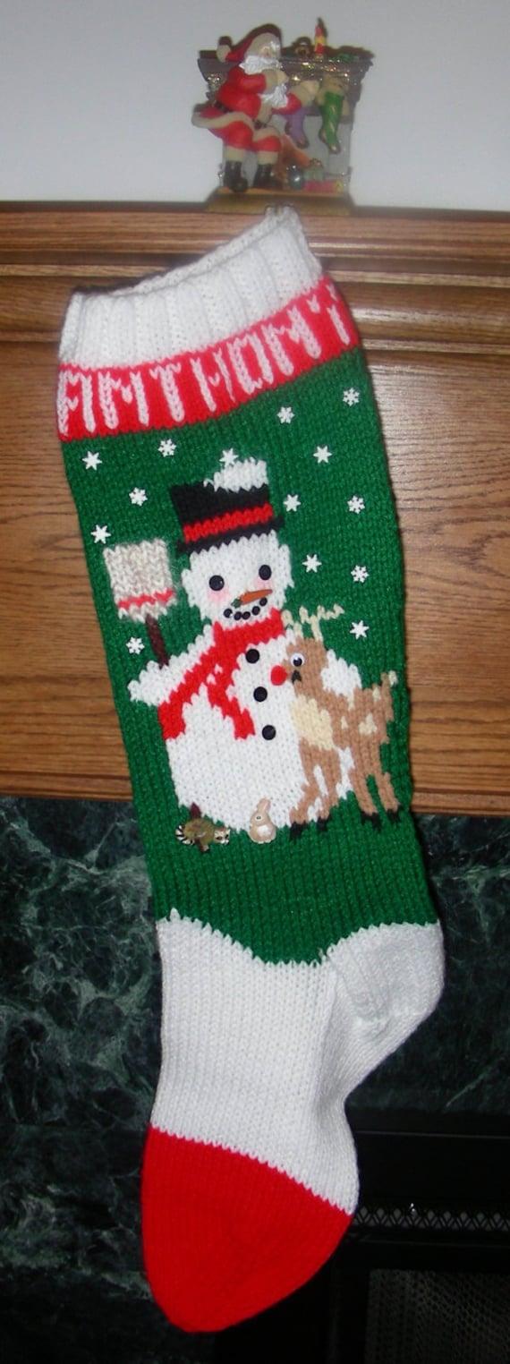 Knitting Pattern Christmas Stocking Name : Knitted Christmas Stocking Pattern Frosty by ...