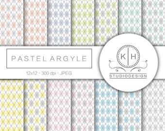 Pastel Argyle Digital Paper, Argyle Scrapbooking paper, Pastel Digital Background, Multicolor Digital Paper, Argyle Scrapbooking Paper