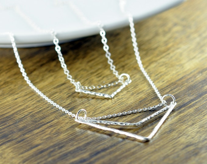 Silver Chevron Necklace - Silver Necklace - Geometric Necklace - Geometric Jewelry, Geometric Shapes, Layered Necklace Set, Layered Necklace