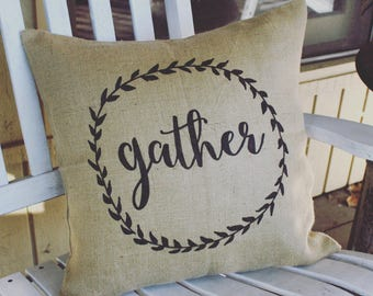 Gather Burlap Pillow Cover