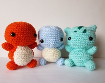 Pokemon starter set **Free Pokeball** amigurumi/crochet Charmander, Squirtle, Bulbasaur (3 in a set) plush | unique gift [Made to order]