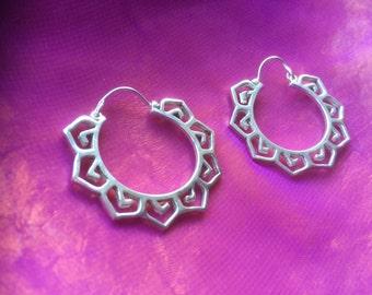 Flower of life hoop earrings