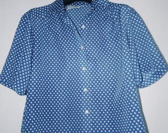 Blue Polka-Dot Top