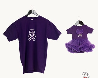 Purple matching father daughter shirts