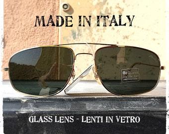 Occhiali da sole uomo pilot aviator rettangolari metallo oro lente vetro sunglasses man rectangular pilot aviator glass lens Made in Italy