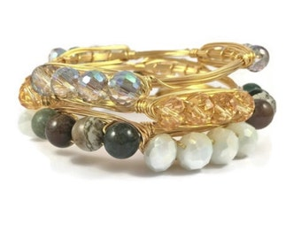 4 beads wrapped gold wire wrapped bangle- sparkling wire