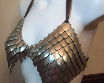 Scalemail Bra - Armor - Scale Mail Top - Bellydance Top - Scale Mail Armor - Armored bra - Chainmail - Scale Mail - dragonscale - (silver)